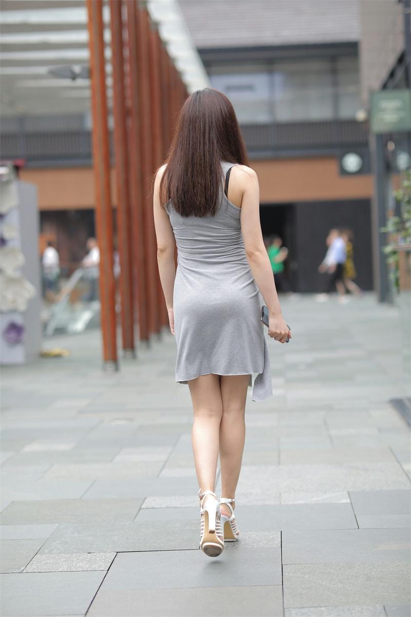精选街拍 No.162 街拍灰色连衣裙小街街 [52P/137MB] 精选街拍-第4张