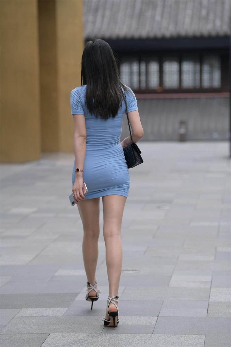 精选街拍 No.195 浅蓝色长裙美女 [111P/128MB] 精选街拍-第4张