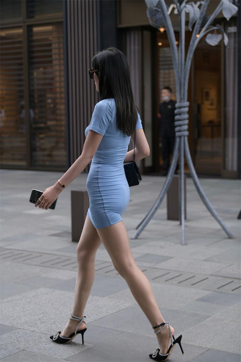 精选街拍 No.195 浅蓝色长裙美女 [111P/128MB] 精选街拍-第3张