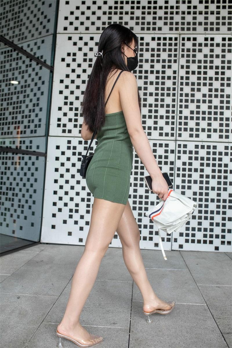 精选街拍 No.213 绿色包臀裙丝袜美女 [328P/235MB] 精选街拍-第3张