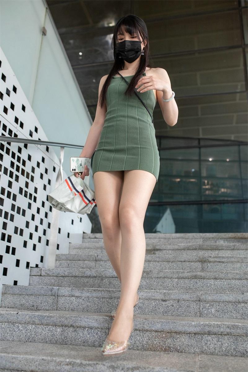 精选街拍 No.213 绿色包臀裙丝袜美女 [328P/235MB] 精选街拍-第1张